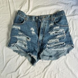Levi's ripped denim shorts